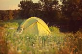 stock photo of grassland  - tent on green grassland - JPG
