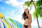 picture of waikiki  - Bikini beach woman at surfboard rental surf shop - JPG