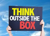 stock photo of thinking outside box  - Think Outside the Box card with sky background - JPG