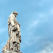 image of alighieri  - Dante Alighieri statue in front of Santa Croce church - Florence Italy