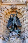 stock photo of michel  - Detail of saint michel fountain in Paris France - JPG