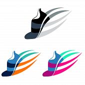 pic of shoes colorful  - Vector illustration Sport shoes sign with color variations - JPG