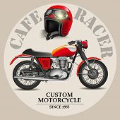 stock photo of designated driver  - Cafe racer style motorbike with helmet on a white background - JPG