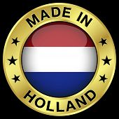 foto of holland flag  - Made in Holland gold badge and icon with central glossy Netherlands flag symbol and stars - JPG