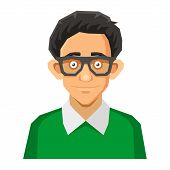 stock photo of nerd glasses  - Portrait of Nerd with Glasses and Green Pullover - JPG