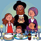 picture of seder  - Happy jewish family selebrated Pesah Seder - JPG