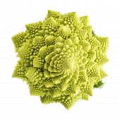 pic of romanesco  - Fresh and raw romanesco broccoli vegetable isolated on white background - JPG