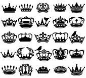 stock photo of crown jewels  - Vector Collection of Vintage Style Crown Silhouettes - JPG