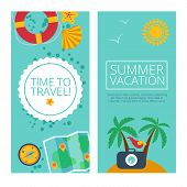 image of passport template  - Set of concepts and banners  of travel - JPG
