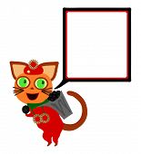 picture of collier  - Red dressed cat with square communication bubble carries hod with coal - JPG