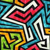 image of graffiti  - graffiti seamless pattern with grunge effect  - JPG