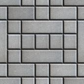 stock photo of slab  - Gray Figured Paving Slabs as Rectangles and Squares - JPG