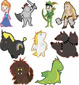 pic of archer  - Set of vector fantasy characters in a cartoon style - JPG