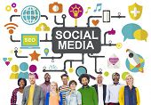 stock photo of social system  - Social Media Social Networking Connection Global Concept - JPG