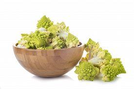 stock photo of romanesco  - Fresh and raw romanesco broccoli vegetable isolated on white background - JPG
