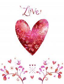 foto of cupid  - Watercolor red heart - JPG