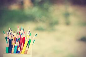 foto of pencils  - color pencils in vintage style. color pencils in vintage style. ** Note: Soft Focus at 100%, best at smaller sizes - JPG