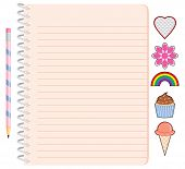 Pretty Girl's Spiral Notebook with Pencil and Stickers