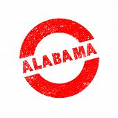 foto of alabama  - A rubber ink stamp with the text Alabama - JPG