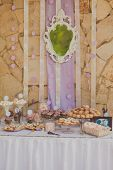 stock photo of ombres  - Dessert table for a wedding party - JPG