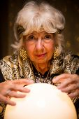 image of fortune-teller  - Photo of fortune teller predicting future from crystal ball - JPG
