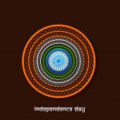 picture of indian independence day  - Beautiful floral design decorated frame with Ashoka Wheel on brown background for Indian Independence Day celebration - JPG
