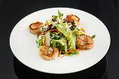 stock photo of scallops  - salad with scallops - JPG