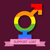 picture of transgendered  - illustration of beautiful Transgender symbol for LGBT with pink ribbon - JPG