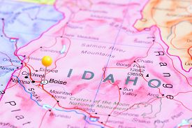 foto of boise  - Photo of pinned Boise on a map of USA - JPG
