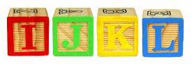 picture of letter j  - I J K L wooden toy letter blocks isolated on white - JPG