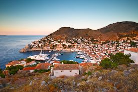 foto of hydra  - View of port of Hydra from a hill above the town - JPG