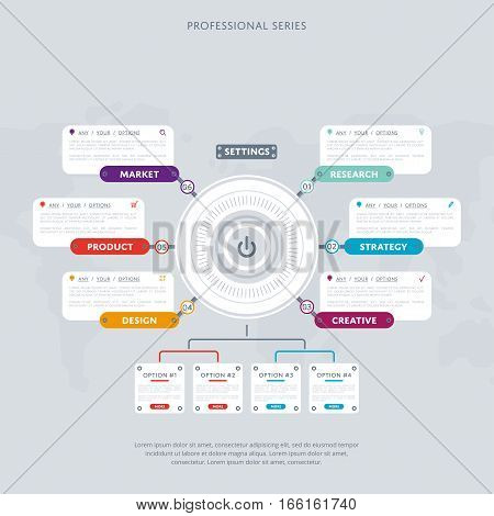 poster of Various business infographic elements. Creative elements. Vector infographic elements. Creative business concept of stage, parts, steps. Business infographic elements. Infographics template. Infographic elements concept. Time line stage.