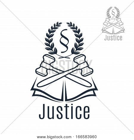 Law Icon Of Judge Gavel Heraldic Laurel Wreath And Justice Legal