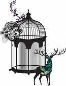 the deer and birdcage design