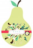 cute pear design with flowers