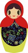 Single Russian wooden Babushka doll on white