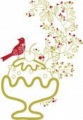 little bird on ice-cream