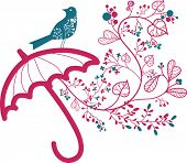 floral umbrella and bird