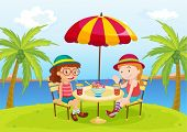 una ilustración de dos personas disfrutando de una bebida en la playa