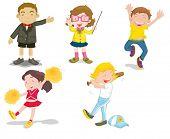an illustration of five children doing differnt activities