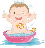 an illustration of a baby boy having a bath