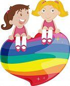 image of friendship belt  - illustration of girls sitting on heart - JPG