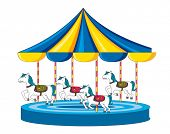 stock photo of merry-go-round  - Illustration of merry go round on white - JPG