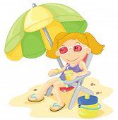 Blonde Girl sitting under a parasol
