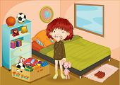 image of girl toy  - Illustration of a girl in a bedroom - JPG