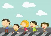 Illustration of kids on zebra crossing road