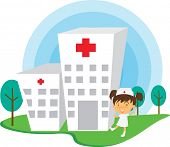 Illustration of A Nurse Near Hospital on white background