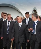 MOSCOW, RUSSIA, AUGUST,18: Prime Minister of Russia Vladimir Putin (c) at the International Aviation