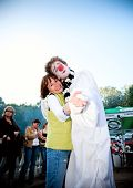 ARKHANGELSKOE - JUNE 6:  Woman And Clown. 7th International Jazz Festival
