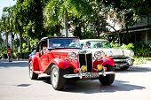 HUA HIN - DECEMBER 18: MG TD , 1952 year. Retro Car on Vintage Car Parade 2010 at Sofitel Resort on